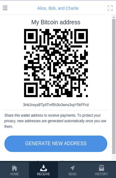 Một địa chỉ ví đa chữ ký trên di động
