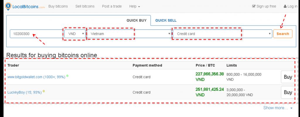 Mua bitcoin hay tiền điện tử (crypto) bằng thẻ tín dụng- mua trên Localbitcoins