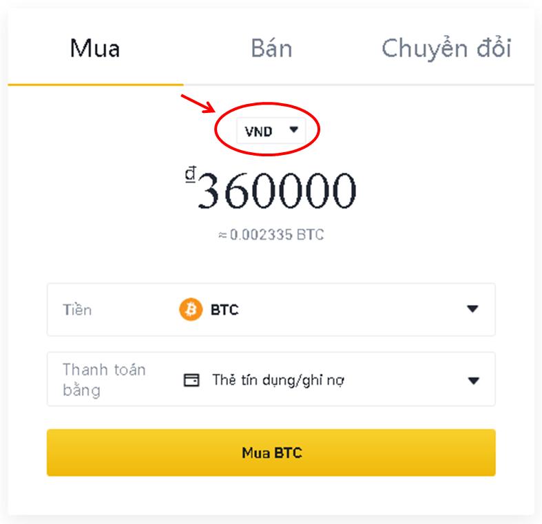 Mua bitcoin hay tiền điện tử (crypto) bằng thẻ tín dụng- mua trên Binance