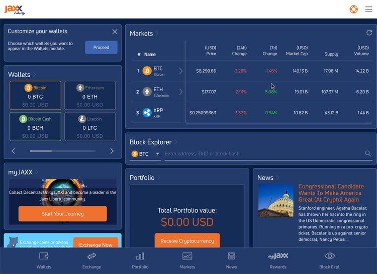 Jaxx Liberty desktop wallet ví crypto bitoin máy tính để bàn tốt nhất-vncrypto.com
