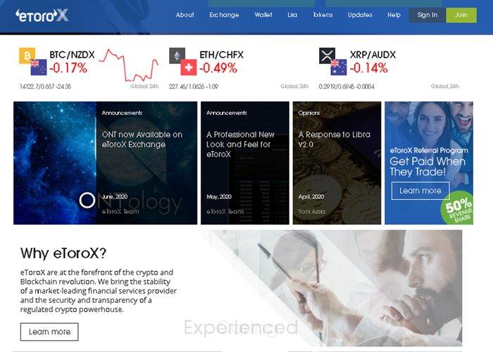 Sàn giao dịch eToroX đánh giá đầy đủ trao đổi